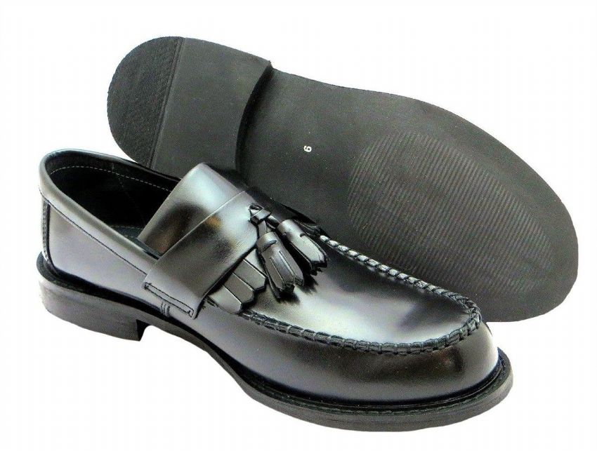 Roamers Black Polished Leather Tassle Loafer